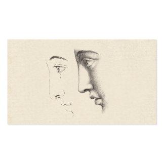 Grabado francés de la antigüedad del perfil del ho tarjetas de negocios