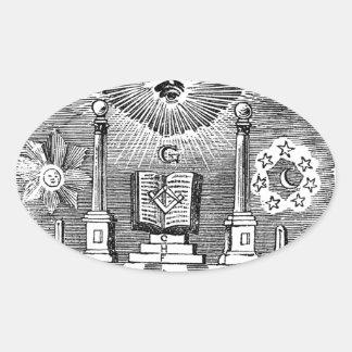 Grabado masónico del siglo XIX de Blockcut Pegatina Ovalada