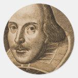 Grabados de Shakespeare Droeshout Etiqueta Redonda