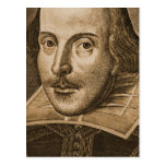 Grabados de Shakespeare Droeshout Postal