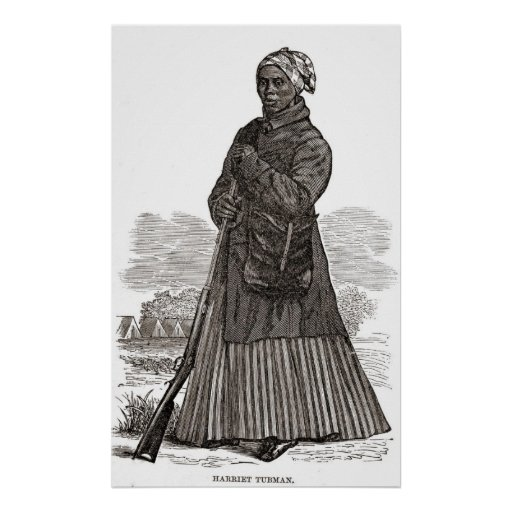 Grabar en madera de Harriet Tubman Póster