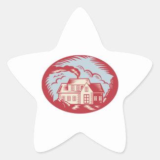 Grabar en madera de la cabaña de la granja de la calcomania forma de estrella personalizada