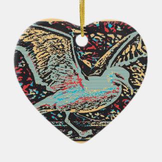 Grabar en madera de la gaviota adorno de cerámica en forma de corazón
