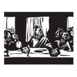 Grabar en madera de la última cena tarjetas postales