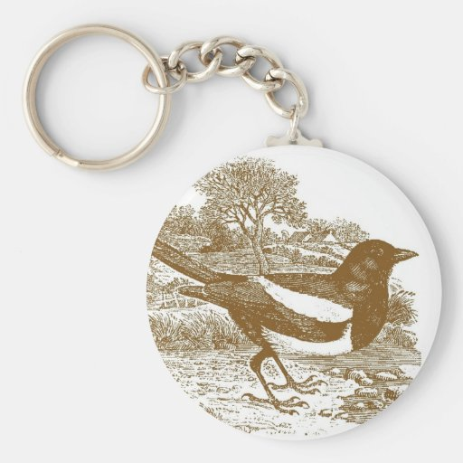 Grabar en madera de la urraca llaveros
