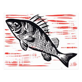Grabar en madera de los pescados del vintage postal