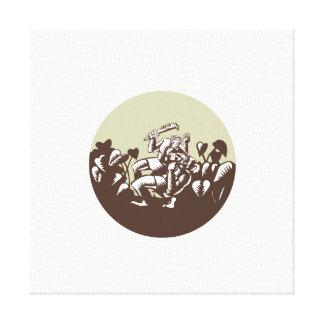 Grabar en madera del círculo del arma de Nifo'oti Impresiones En Lona Estiradas