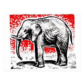 Grabar en madera del elefante postales