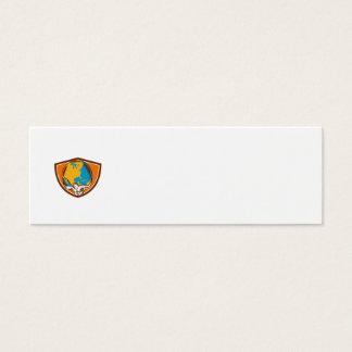 Grabar en madera del escudo del globo del atlas tarjetas de visita mini
