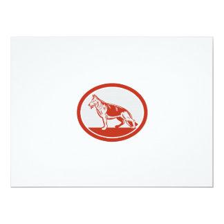 Grabar en madera del óvalo del perro de pastor invitacion personalizada