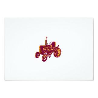 """Grabar en madera del tractor de granja del vintage invitación 3.5"""" x 5"""""""