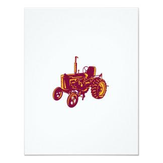 """Grabar en madera del tractor de granja del vintage invitación 4.25"""" x 5.5"""""""