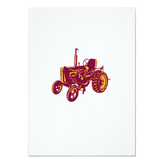 """Grabar en madera del tractor de granja del vintage invitación 4.5"""" x 6.25"""""""