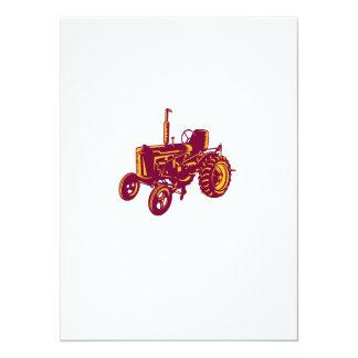 """Grabar en madera del tractor de granja del vintage invitación 5.5"""" x 7.5"""""""