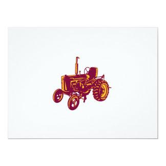 """Grabar en madera del tractor de granja del vintage invitación 6.5"""" x 8.75"""""""