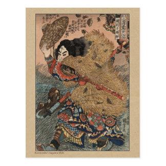 Grabar en madera japonés de Kuniyoshi Utagawa Postales