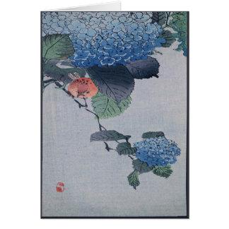 Grabar en madera japonés del Hydrangea azul con ve Felicitacion