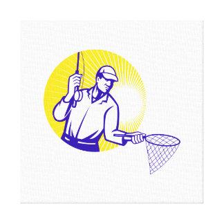 Grabar en madera retro de la red de pesca del pesc impresiones en lienzo estiradas