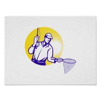 Grabar en madera retro de la red de pesca del pesc póster