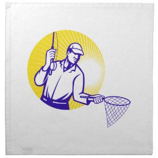 Grabar en madera retro de la red de pesca del pesc servilletas de papel
