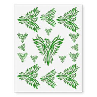 Grabar en relieve-mirada verde Phoenix que sube de Tatuajes Temporales