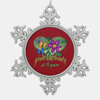 Grace and Beauty at 18 years Snowflake Pewter Christmas Ornament