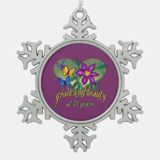 Grace and Beauty at 21 Snowflake Pewter Christmas Ornament