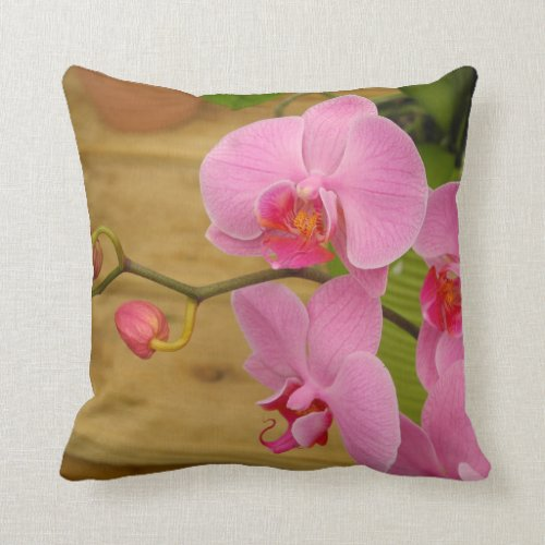 Grace and Elegance Gorgeous Magenta Orchids Throw Pillow