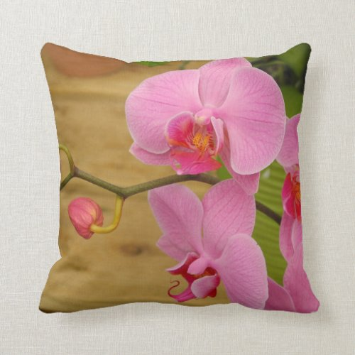 Grace and Elegance Magenta Orchids Throw Pillow