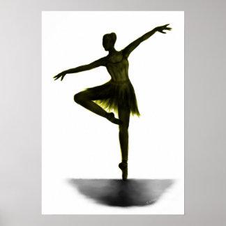 """Grace"" ballerina poster - yellow"