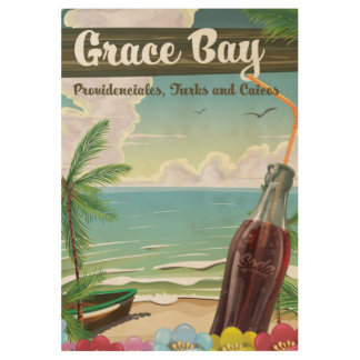 Grace Bay, Providenciales, Turks and Caicos Travel Wood Poster