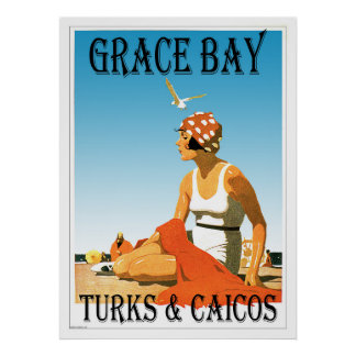 Grace Bay Turks & Caicos Retro Poster
