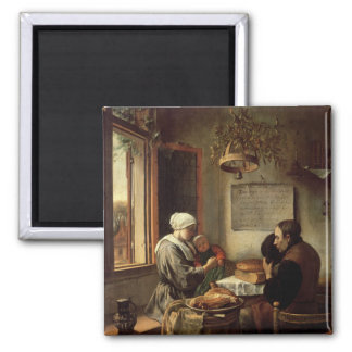 Grace before Meat, 1660 2 Inch Square Magnet