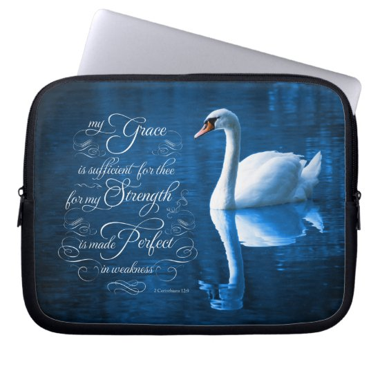 Grace Bible Verse Mute Swan Laptop Sleeve