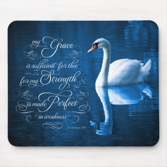 Grace Bible Verse Mute Swan Mousepad