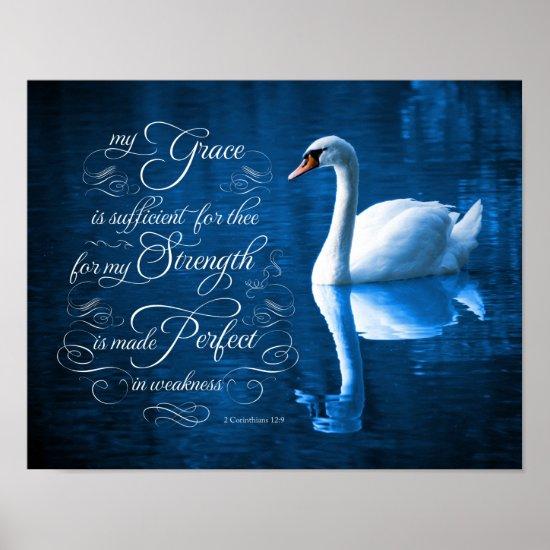 Grace Bible Verse Mute Swan Poster