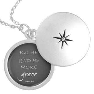 Grace Bible Verse Round Locket Necklace