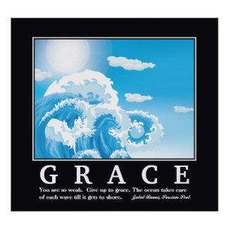 Grace, blue white ocean waves motivational poster print