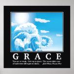 Grace, blue white ocean waves motivational poster