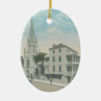 Grace church charleston Double-Sided oval ceramic christmas ornament