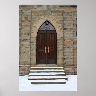 Grace Church Door in Winter Poster