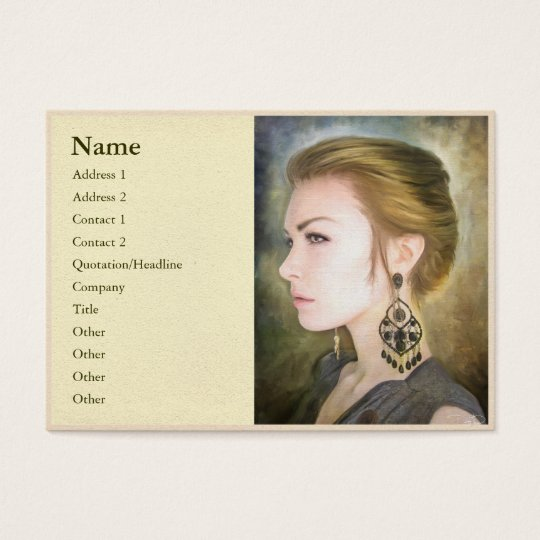 Grace classic digital oil portrait painting woman business card