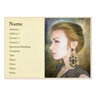 Grace classic digital oil portrait painting woman large business card