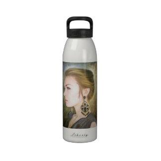 Grace classic oil portrait painting art beauty water bottle