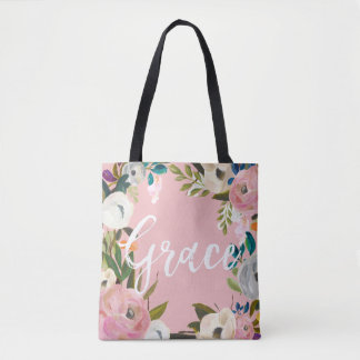 Grace Custom Brushed Floral Wedding Party Pink Tote Bag