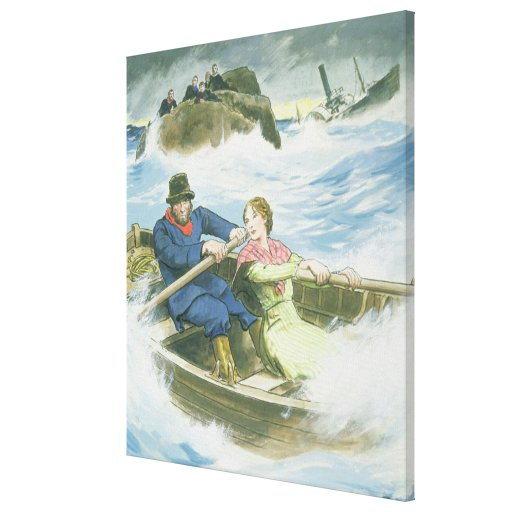 Grace Darling (1815-41) and her father rescuing su Stretched Canvas Print
