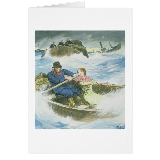Grace Darling (1815-41) and her father rescuing su Greeting Cards