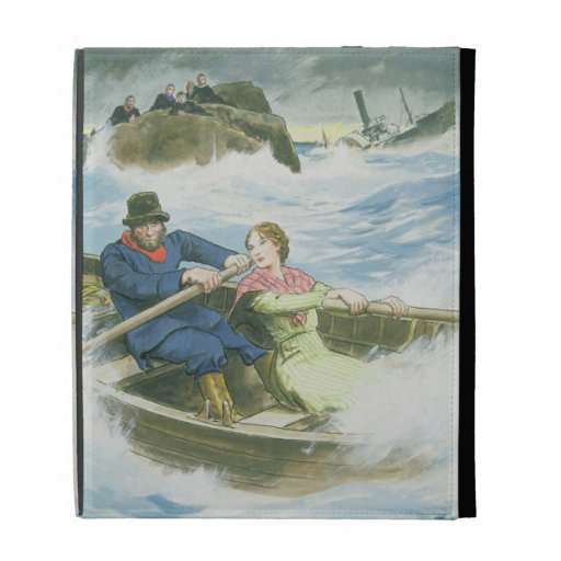 Grace Darling (1815-41) and her father rescuing su iPad Case