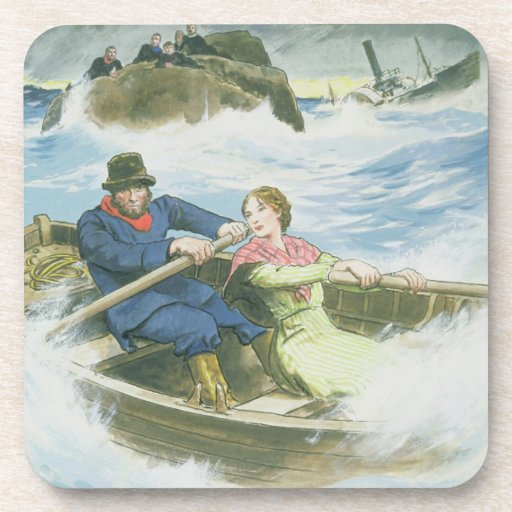 Grace Darling (1815-41) and her father rescuing su Beverage Coaster
