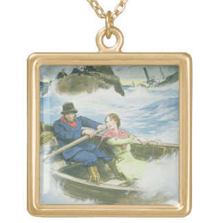 Grace Darling (1815-41) and her father rescuing su Gold Plated Necklace